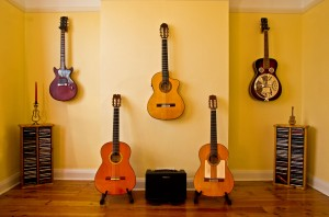 Five guitars illustrate the many styles of guitar to learn.