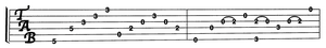 Image of guitar tab Bob's creates for lessons.