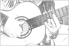 Pencil image of Bob playing guitar.